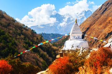 Buddhist stupa in autumn Himalaya mountains. Khumbu valley, Everest region, Nepal