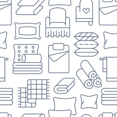 Home textiles seamless pattern with flat line icons. Bedding, bedroom linen, pillows, sheets set, blanket and duvet thin linear illustrations. Blue white background for interior store