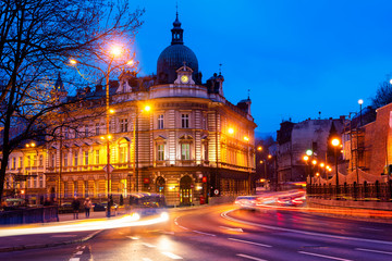 Night view on the theater and main post office in Bielsko Biala city, Silesia, Poland