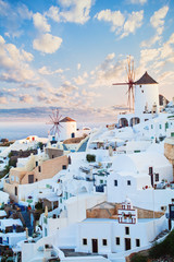 Beautiful landscape of Santorini island. Blue sky clouds and white village