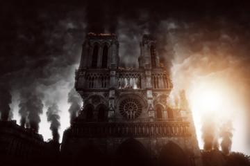 Burning Notre Dame in Paris (komponowanie)
