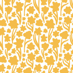 Golden yellow hand drawn daffodil silhouette texture on plain white background. Seamless vector pattern.