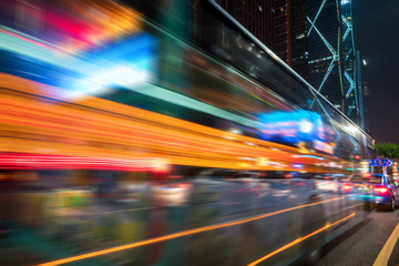 abstract image of blur motion of cars on the city road at night