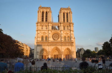 Notre Dame de Paris at sunset.