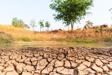 Krakingowa ziemia w stawie w sezonie letnim, susza w Tajlandia, zmiana klimatu