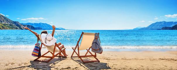 Woman Enjoying Sunbathing at Beach