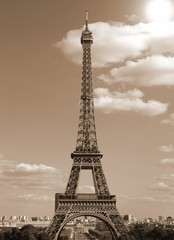 Eiffel Tower in Paris France with old toned sepia effect