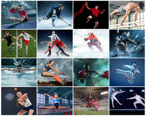 Collage about different kind of sports