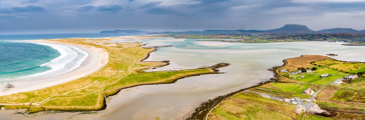 Aerial view of the famous Magheraroarty beach - Machaire Rabhartaigh - on the Wild Atlantic Way in County Donegal - Ireland