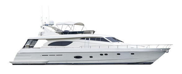 A private motor yacht, isolated on a white background