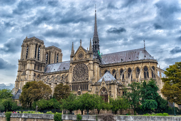 Gothic Cathedral of our lady of Paris in cloudy weather, France