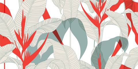 Seamless floral pattern in vintage oriental style. Exotic leaves with red Heliconia flowers on a light background. Vector illustration