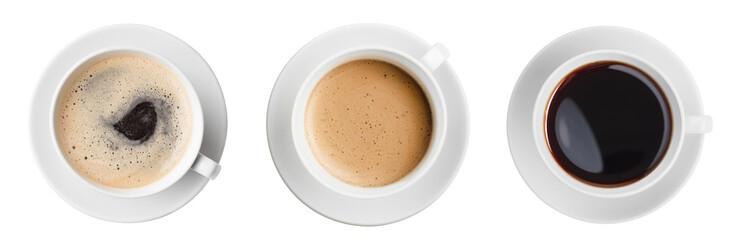 widok z góry filiżanka kawy na białym tle