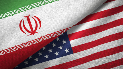 Iran and United States two flags textile cloth, fabric texture