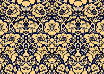 Vector seamless damask gold patterns. Rich ornament, old Damascus style gold pattern