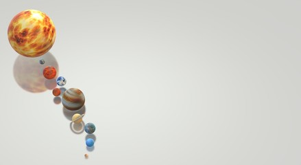 Solar universe 3d rendering for  science or  education content.