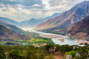 A famous bend of yangtze river in Yunnan Province, China, first curve of yangtze river , Lijiang