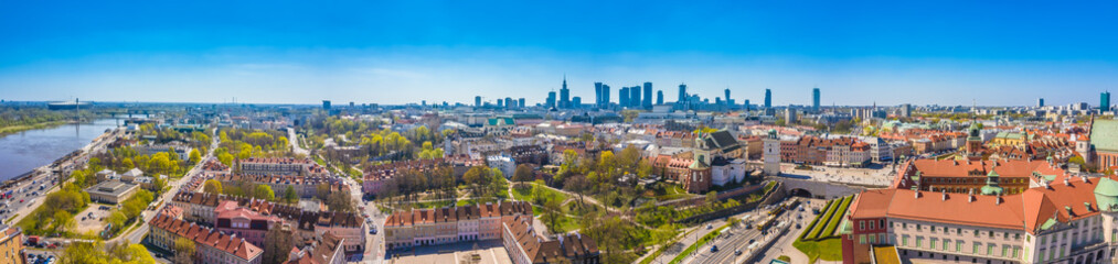 Historic cityscape panorama with high angle view of colorful architecture rooftop buildings in old town market square.
