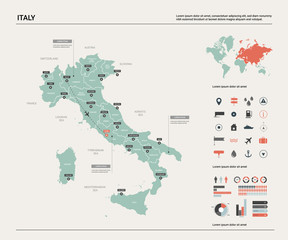 Vector map of Italy. High detailed country map with division, cities and capital Rome. Political map,  world map, infographic elements.