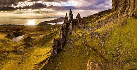 Aerial view of the Old Man of Storr and the Storr cliffs on the Isle of Skye in autumn, Scotland, United Kingdom