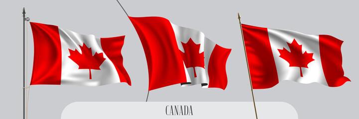 Set of Canada waving flag on isolated background vector illustration