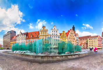 WROCLAW, POLAND - APRIL 22, 2019: Wroclaw Old Town. City with one of the most colorful market squares in Europe. Historical capital of Lower Silesia, Poland, Europe.