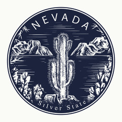 Nevada. Tattoo and t-shirt design. Welcome to Nevada (USA).  Silver State slogan. Travel concept