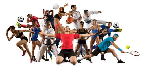 Multi sports collage taekwondo, tennis, soccer, basketball, etc