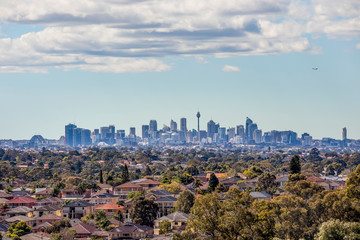Sydney City Skyline and Suburbs from South West