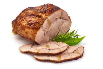 Baked pork roast, spicy meat, close-up, isolated on white background.