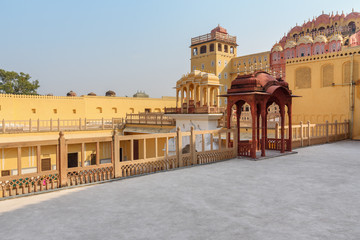 Courtyard of Hawa Mahal palace is Palace of Winds in Jaipur. India