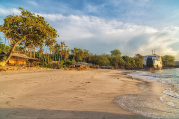Sunny day on a secret beach, Padang Bai, Bali, Indonesia