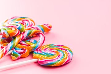 Various colorful lollipops.