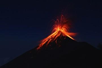 Fuego Volcano eruption, view from volcano Acatenango, Guatemala