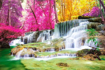 .Beautiful waterfall in wonderful autumn forest of national park, Huay Mae Khamin waterfall, Kanchanaburi Province, Thailand