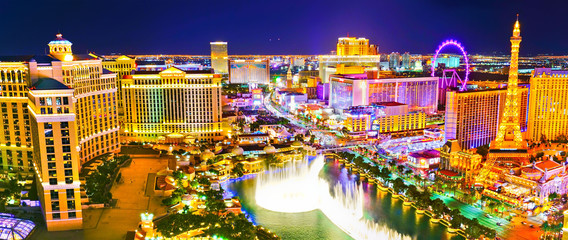 View of the Las Vegas Boulevard at night with lots of hotels and casinos in Las Vegas.