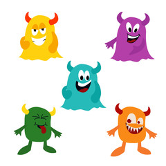 Set of cute monster on the white background