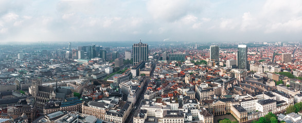 Aerial view of central Brussels, Belgium