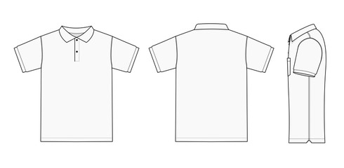 Polo shirt (golf shirt) template illustration ( front/ back/ side ) / white. No pockets.