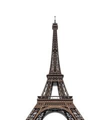 Wieża Eiffla na białym tle nad białym tle.