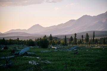 Meadow at Sunset in Polebridge, Montana in Northwest Glacier National Park