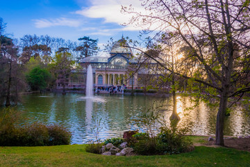 Sunset at the Crystal Palace, Retiro Park, Madrid, Spain