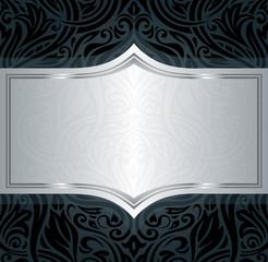 Black silver floral vintage luxury wallpaper background