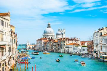 Kanał Grande i bazyliki Santa Maria della Salute w Wenecja, Włochy