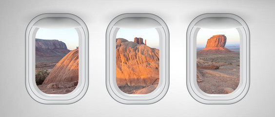 Monument Valley landscape as seen from three airplane windows. Holiday, vacation and travel concept