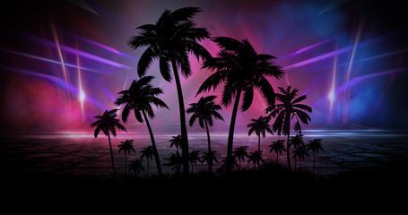 Kosmiczny futurystyczny krajobraz. Neonowe palmy, liście tropikalne.