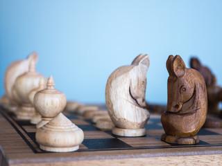 Thai wooden chess on checker board