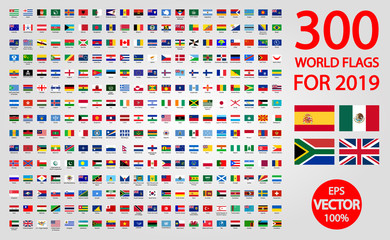 All official national flags of the world . circular design