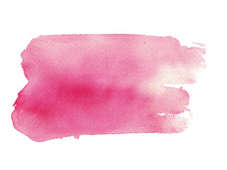 hand drawn watercolor pink storke isolated on white background