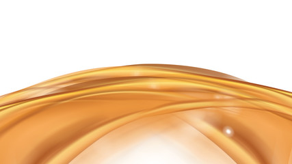 Orange golden flowing liquid vector abstract background. Streams of oil, honey or fluid on light background with white element. Template for cosmetic or sale banner or flyer.
